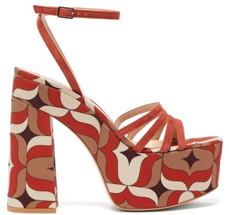 Gianvito Rossi Ursula 85 1960s-print Suede Platform Sandals - Orange Multi