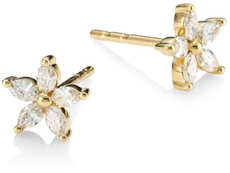 Ef Collection 14K Yellow Gold & Diamond Flower Stud Earrings