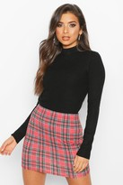 boohoo Tartan Check Basic Jersey Mini Skirt
