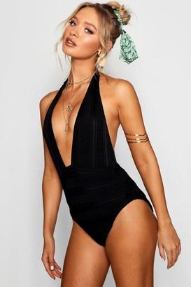 boohoo Textured Plunge Swimsuit