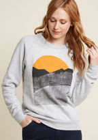 GM02 You're not at home if you can't see a mountain, so when you travel, you always pack this ModCloth-exclusive sweatshirt by Kin Ship in your bag. The Louisville duo behind Kin Ship create hand-printed housewares and cozy clothes - artful, everyd