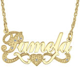 JCPenney FINE JEWELRY Personalized Diamond-Accent 14K Gold Over Sterling Silver Name Necklace