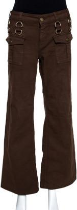 Gucci Brown Denim Metal Detail Boot Cut Jeans M