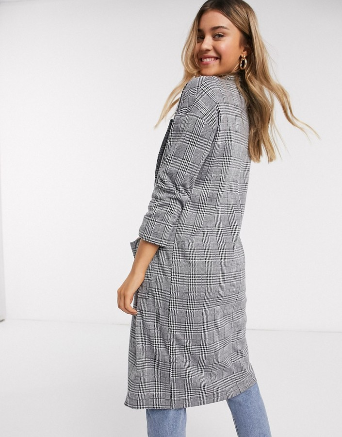 Thumbnail for your product : Brave Soul paulina longline blazer in mono check