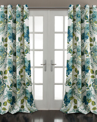 Triangle Home Fashion Floral Paisley Room Darkening Window Curtain Panels