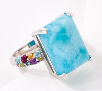 Larimar Cabochon & Multi Gemstone Sterling Silver Ring