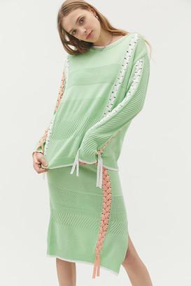 Eyeye Lace-Up Long Sleeve Sweater