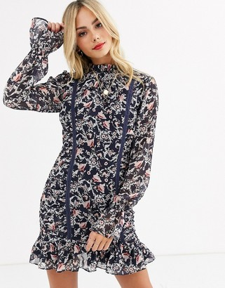 Stevie May sadelle long sleeve ruched floral printed mini dress
