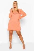 boohoo Plus Dobby Chiffon Ruffle Shift Dress