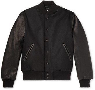GoldenBear Golden Bear - The Albany Wool-blend And Leather Bomber Jacket - Black