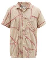 By Walid Pizza Embroidered Slubbed-cotton Shirt - Mens - Cream Multi