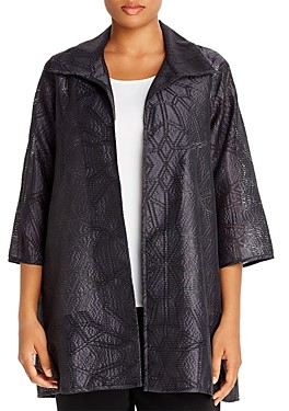 Caroline Rose Plus Geometric Perforated Jacquard Jacket