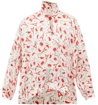 Balenciaga Paris-print Tie-neck Silk Blouse - Red White
