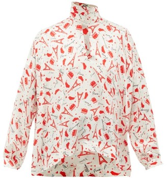 Balenciaga Paris-print Tie-neck Silk Blouse - Womens - Red White