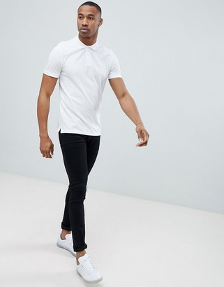 Jack and Jones Essentials slim fit pique logo polo in white