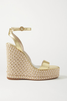 Sophia Webster Lucita Metallic Leather Espadrille Wedge Sandals - Gold
