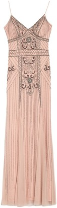 Jump Beaded Spaghetti Strap Gown
