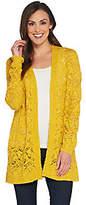 Susan Graver Cotton Acrylic Open Front SweaterCardigan