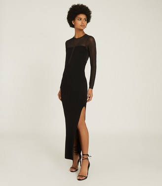Reiss SABRINA MAXI DRESS WITH SEMI SHEER PANELLING Black