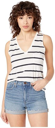 Madewell Whisper Cotton V-Neck Pocket Tank in Cresto (Peppy Stripe Bright Ivory) Women's Clothing