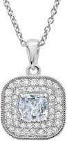 Crislu Sterling Silver Antique CZ Pendant Necklace