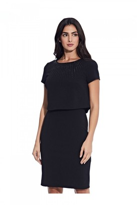 Adrianna Papell Embellished Pop Over Sheath Dress In Black