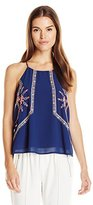 Blu Pepper Women's Navy Woven Top with Spaghetti Straps and Neon Embroidery