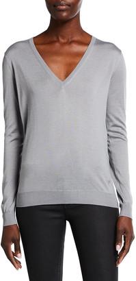 Tom Ford V-Neck Long-Sleeve Fine Cashmere-Silk Top