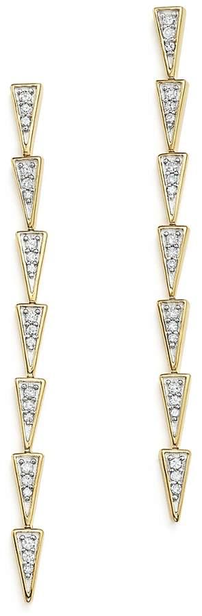 Adina 14K Yellow Gold & Pave Diamond Triangle Link Drop Earrings