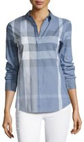 Burberry Check Long-Sleeve Cotton Shirt, Blue