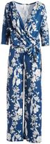 Glam Blue & White Floral Surplice Jumpsuit