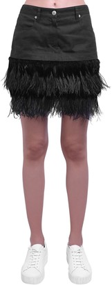 Mr & Mrs Italy Cotton Mini Skirt W/feather Details
