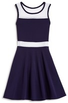 Aqua Girls' Mixed Media Skater Dress , Sizes S-XL - 100% Exclusive