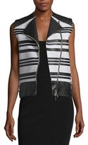 CNC Costume National Sleeveless Asymmetric-Zip Leather Waistcoat, Black/White