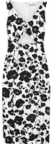 Michael Kors Cutout Floral-print Textured Cotton And Silk-blend Dress - White