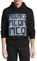 McQ by Alexander McQueen Embroidered Logo Hoodie, Dark Black Melange