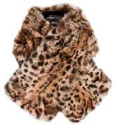 Adrienne Landau Leopard Print Rabbit Fur Scarf