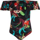River Island Girls Black tropical frill bardot bodysuit