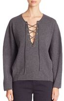 Vince Merino Wool & Cashmere Lace-Up Sweater