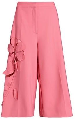 Oscar de la Renta Mid-Waist Wide-Leg Culotte Pants