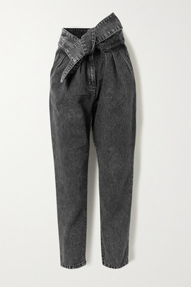 IRO Repu Cropped Belted Acid-wash High-rise Tapered Jeans - Dark gray