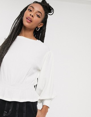 Monki Ragna jersey shirred waist long sleeve top in off white