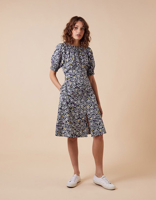 Under Armour Ditsy Floral Print Dress in Organic Cotton Blue