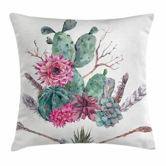 "East Urban Home Cactus Exotic Bouquet Square Pillow Cover East Urban Home Size: 16"" x 16"""
