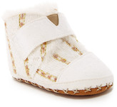 Toms Metallic Tweed Faux Shearling Slipper (Baby)
