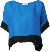 Diane von Furstenberg contrast trim top - women - Linen/Flax/Viscose - XS