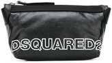 DSQUARED2 two-tone logo wash bag - men - Cotton/Linen/Flax/Calf Leather/Polyurethane - One Size