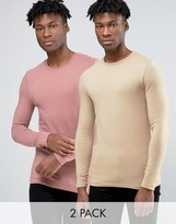 Asos Extreme Muscle Long Sleeve T-Shirt With Crew Neck 2 Pack
