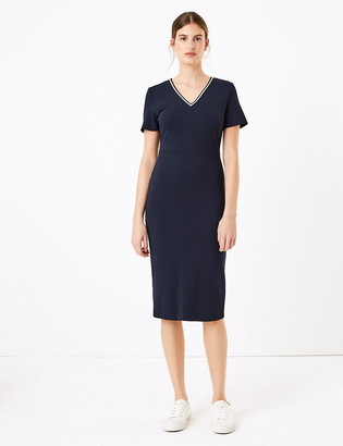 Marks and Spencer Jersey V-Neck Knee Length Dress