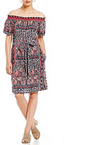 Lucky Brand Printed Off-The-Shoulder Knit Dress